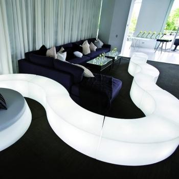 Asiento luminoso led, Snake, modular, 120cm largo, RGB, sin cables