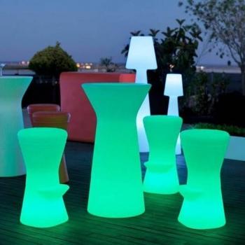 Taburete luminoso led, RGB, sin cables, Corfu