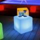 Cubo luminoso led 40 cm, luz 16 cores, portátil