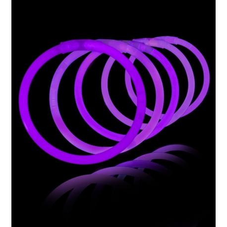100 Pulseras luminosas fiesta, glow, morado