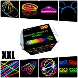 Pack fiesta XXL Glow pulseras, collares, gafas, orejas conejo, pendientes, flores, bola luminosa - 482 elementos