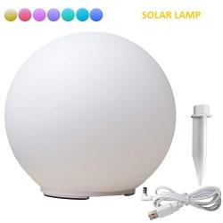 Bola LED solar 30cm, lámpara esfera de 7 colores RGB, incluye función de cambio de color + anclaje, cable usb de carga