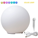 30 cm Solar LED Sphere, 7-color RGB lamp, color change function + docking, usb charging cable