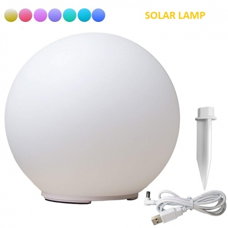 40 cm Solar LED Sphere, 7-color RGB lamp, color change function + docking, usb charging cable