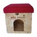 Caseta de madera para Perro o Gato Puff Asiento Plegable