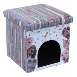 Caseta Print para Perro o Gato Puff Asiento Plegable