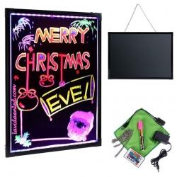 Ardoise LUMINEUSE DE LED 40x60cm, RGB, acrylique, + PACK 8 MARQUEURS