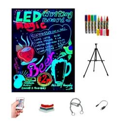 Ardoise LED lumineuse 40x60cm, RGB, acrylique + TRÉPIED + PACK 8 MARQUEURS