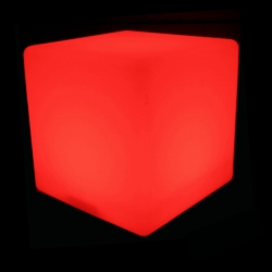 Cubo luminoso led 50 cm, luz 16 cores, bateria recarregável