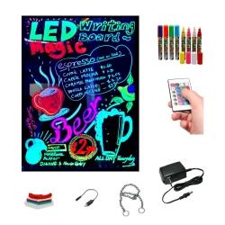 Ardoise LED lumineuse 30x40cm, RGB, acrylique + PACK 8 MARQUEURS