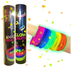 100 bracelets de fête lumineux multicolores Glow PREMIUM