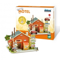 American Motor Inn 3D Assembled DIY Wooden Puzzle Gas station