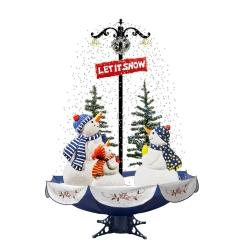 Arbre de Noël avec lumière DEL, Neige artificielle, Bonhommes de neige 1.70 mètres