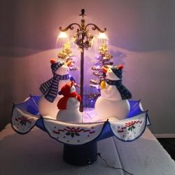Arbre de Noël avec lumière de LED, neige artificielle, bonhommes de neige, 75cm