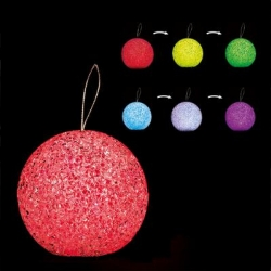 RGB LED CHRISTMAS BALL, CRYSTAL EFFECT, 8cm