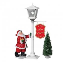 Figura de Natal Papai Noel e árvore com neve, luz e música