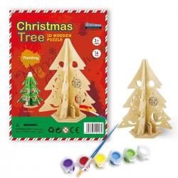 DIY Árbol de Navidad Puzzle 3D de Madera para Pintar