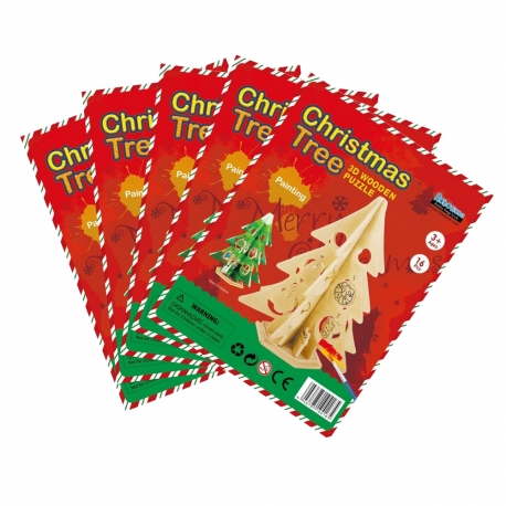 Pack of 5 DIY Christmas Tree 3D Wooden Painting Puzzle
