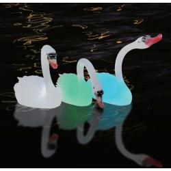 Cisne con luz Led RGBW solar y batería recargable, flotante