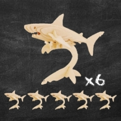 Pacote de 6 Quebra-cabeças de Tubarão 3D para pintar, presentes crianças convidados aniversário