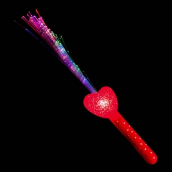 Stick palo corazon led de fibra óptica fiesta
