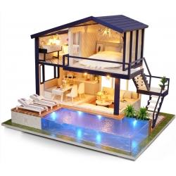 DIY House com Miniature Pool 3D Puzzle com luz e música