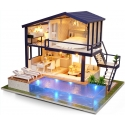 DIY Miniature House with Pool 3D Puzzle with light and music