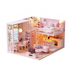 DIY Apartamento Ideal Casa em miniatura Quebra-cabeça 3D com Luz