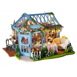 DIY Miniature Greenhouse Garden Tea House 3D Puzzle Light and Music