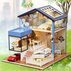 DIY Casa Duplex Miniatura com Piscina Quebra-cabeça 3D Luz e Música