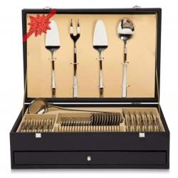 Ensemble 75-113 pièces Luxe Cutlery Coffre-de-cadeau avec couteau à viande