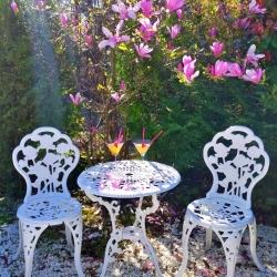 Conjunto Blanco de 1 Mesa y 2 Sillas de Aluminio Máxima Calidad y Resistencia para jardín, balcón, terraza, Piscina.