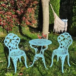 Conjunto Color de 1 Mesa y 2 Sillas de Aluminio Máxima Calidad y Resistencia para jardín, balcón, terraza, Piscina.