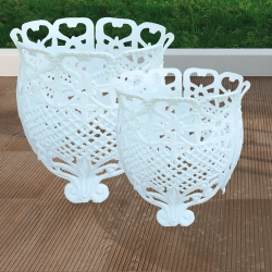 White Romantic Aluminum Pot Support, Planter, Resistant Aluminum, for Outdoor and Garden.