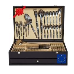 Ensemble 130 pièces Luxe Cutlery Coffre-de-cadeau avec couteau à viande