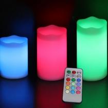 Bougies LED, RGB, avec contrôle, pack 3