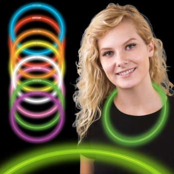 Collares fiesta luminosos, glow, bicolor 50 uds