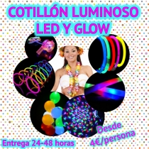 10 Cotillón Kit fiesta Luminoso LED y Glow Photocall Pack (SUPER)