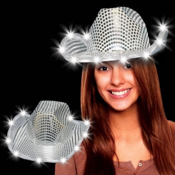 Chapeaux d'argent de cowboy de led