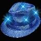 Sombreros fiesta Fedora, luminosos, azul