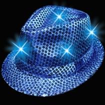Chapeaux de fête fedora, lumineux, bleu